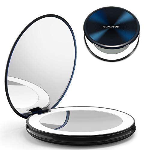 Glocusent 1X/10X Magnifying Makeup Mirror with Lights, 40 LEDs Ring Light with 3 Color Modes & Adjustable Brightness, Rechargeable & Long-Lasting, Compact & Foldable, Perfect for Travel & on The go