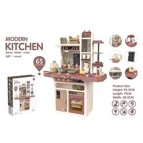 ATAA Cocina Modern Kitchen 65 Accesorios Cocina Infantil de Juguete para niños con Agua y Vapor Real