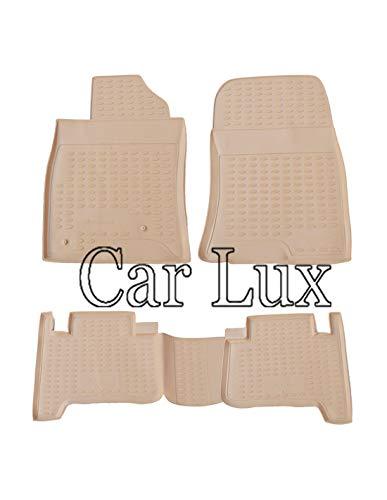 Car Lux AR05527 - Alfombrillas Alfombras de goma a medida con borde alto tipo cubeta 3D en BEIGE Land Cruiser 120