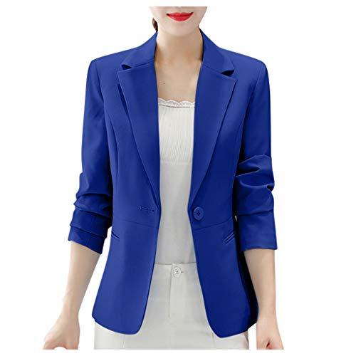 Hniunew Sakkos MäDchen Suit Pumps Elegant Blazer Cardigan Office Jacket Jacke FließT Wunderbar Kurzer Mantel Arbeitskleidung Damenoberteile Dress Coat (XXL, Blau)