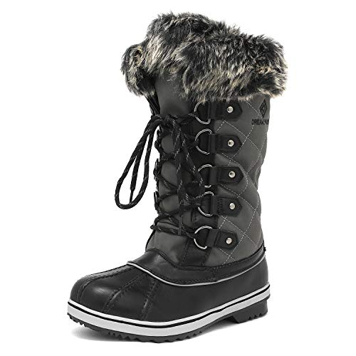 DREAM PAIRS Women's River_1 Grey Mid Calf Winter Snow Boots Size 7 M US