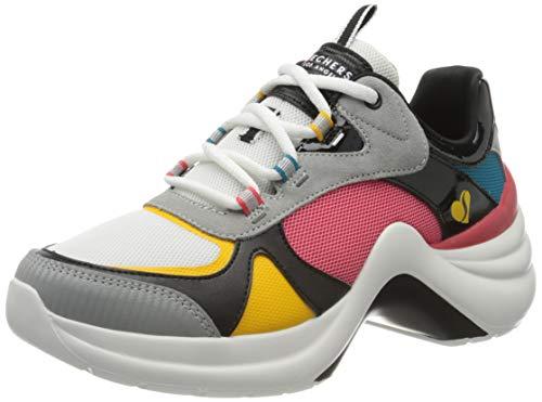 Skechers Solei St-Groovy Sole, Sneaker Donna, Bianco (White & Pink Mesh/Grey Suede/Black Durapatent Trim Wmlt), 38.5 EU