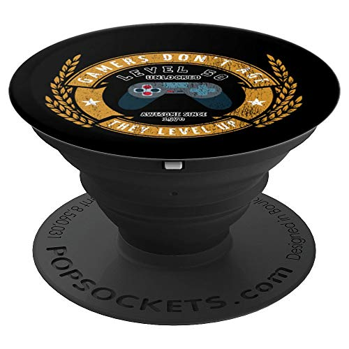 Level 50 Unlocked - Gamer 50th Birthday PopSockets Grip and Stand for Phones and Tablets