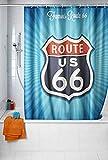 WENKO Anti-Schimmel Duschvorhang Vintage Route 66 - waschbar, Polyester, 180 x 200 cm, Mehrfarbig