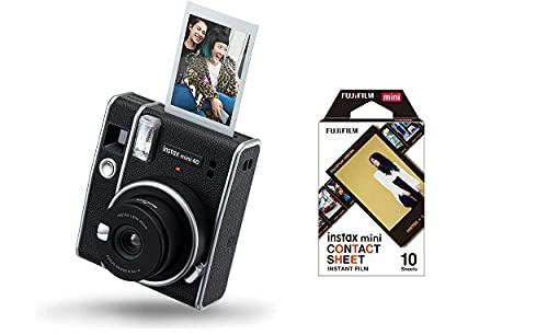 Fujifilm Instax Mini 40 Instant Camera + Instax Mini Film Pellicola, Foglio di Contatto, Confezione da 10 Foto