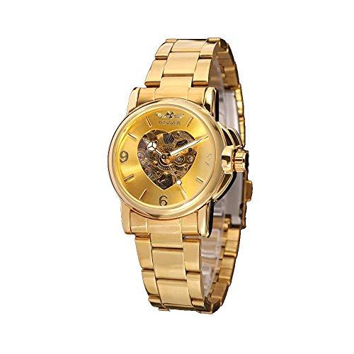 Reloj para Mujer, con Esqueleto automático, Dorado, Pulsera de Acero Inoxidable, Resistente a los arañazos, Estilo de Moda