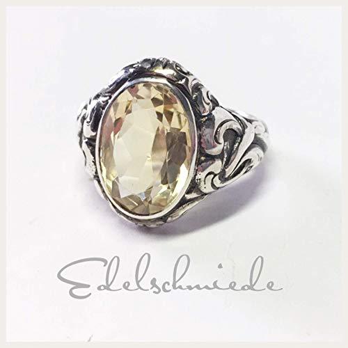 rustikaler Silber Ring mit facettiertem Citrin in 800/- Silber geschwärzt #62