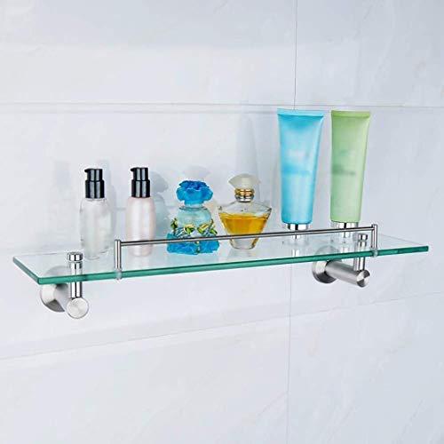 Roestvrij stalen badkamerrek aan de muur bevestigde 1 rij-rechthoekige uitgebalanceerde glazen kaptafel badkamerklem, 52 x 12 x 10 cm (afmetingen: 52 x 12 x 10 cm). 52 * 12 * 10CM