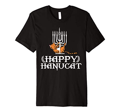 Happy Hanucat Cat Menorah Hanukkah funny gift for men women Premium T-Shirt