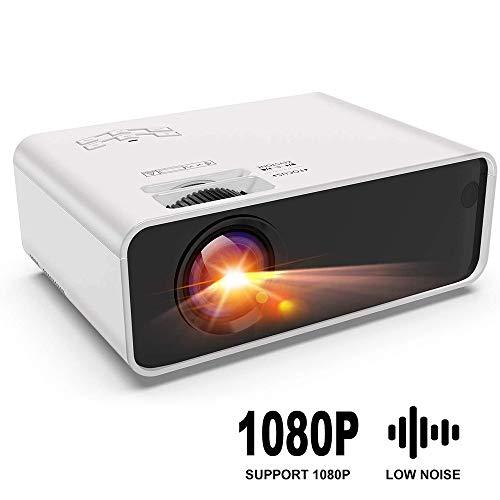 TOPQSC Tragbarer Projektor,Mini-Beamer,Heimkino-Projektor,1080P HD Player,Trapezoide Korrektur,mit Lautsprecher,Direkte Verbindung mit Telefon,Tablet, PC und Laptop,100-Zoll-Großbildschirm