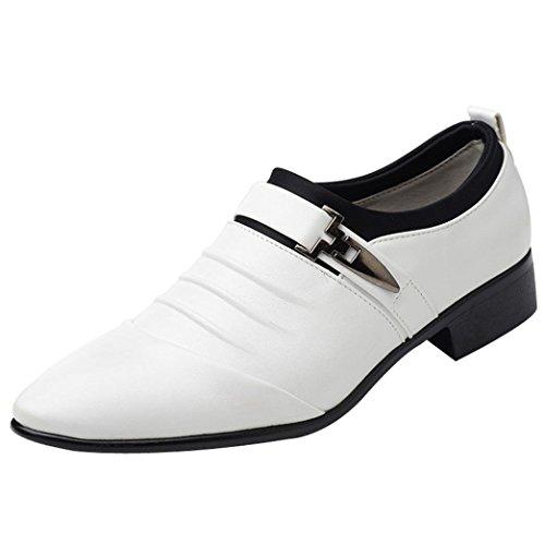 PLOT Lederschuhe Herren,Herren PU Leder Business Anzug Schuhe Atmungsaktiv Oxford Slipper für Party Hochzeit Freizeit Schuhe 37-46 (46 EU, Weiß)