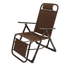 Chaise de Patio inclinable en rotin Brun  Fauteuil inclinable verrouillable Zero Gravity Salon Jardin Pelouse  Chaise Longue d'extérieur surdimensionnée Pliante