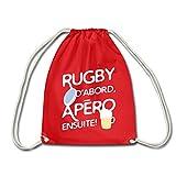 Spreadshirt Rugby et Apéro Sac À Dos Cordon, rouge