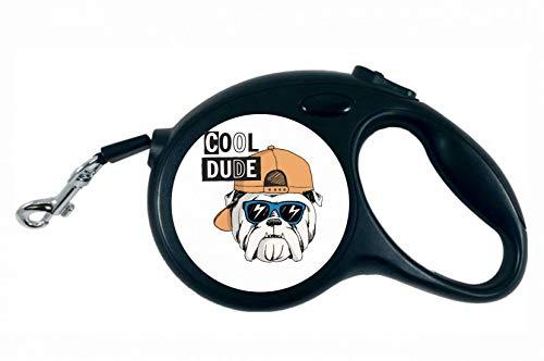 Druckerlebnis24 Rollleine - Bulldog Hund Mütze Sonnenbrille - 5M Hundeleine Nylon Ergonomischem rutschfest-Griff Einziehbar