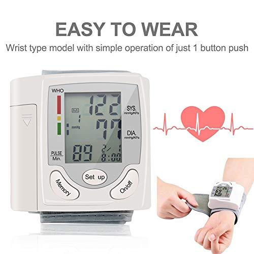 DCSHOP Tensiometro de Brazo Monitor, Monitor de PresióN Arterial de MuñEca Digital con Gran Pantalla LCD, Medir la PresióN Arterial Y La Frecuencia CardíAca para Uso DoméStico
