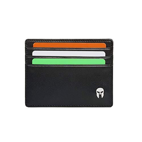 SPARTANO Porta Carte di Credito da Uomo in Vera Pelle con Protezione RFID, Portafoglio Slim Sottile Elegante con 6 Tasche per Tessere e 1 per Banconote - ARES