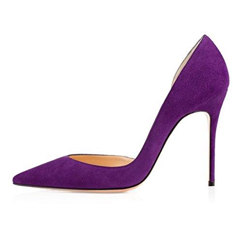 EDEFS Damen D'orsay Pumps Klassische Two-Pieces Cut-Out Damenschuhe Violett Größe EU38