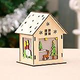 OurLeeme ornamentos de navidad con luces LED casa de madera colgante para el hogar luminoso Cabinas Wall hanging Elk del tamaño grande