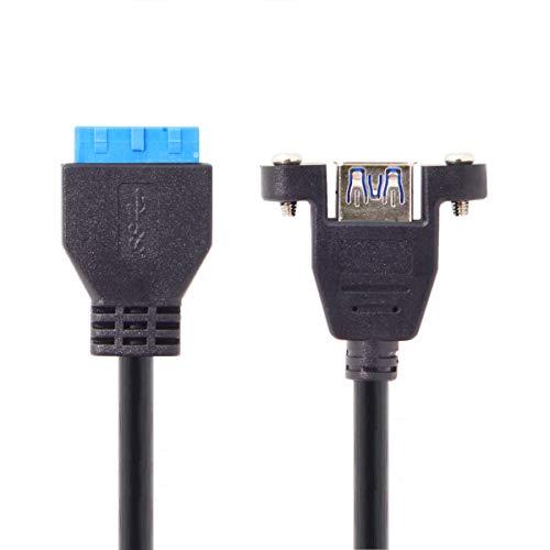 CY USB 3.0 20-pins header adapterkabel USB 3.0 enkele poort Een vrouwelijk schroefbevestigingstype naar moederbord 20-pins headerkabel 25cm