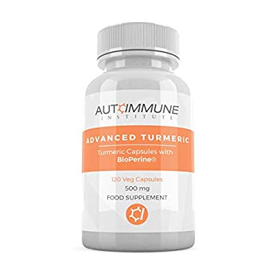 Organic Turmeric Curcumin with Bioperine (for 2000% improved absorption!). Advanced Turmeric - 120 Veg Capsules, 500mg High Strength. Gluten Free, Suitable for Vegetarians and Vegans, Made in the UK. from Autoimmune Institute