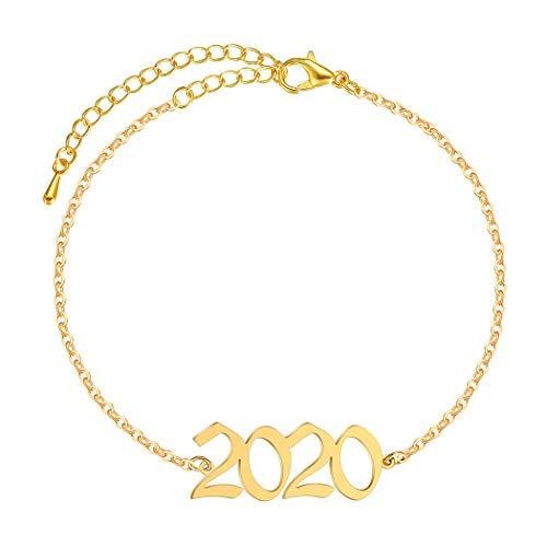 N/A Aniversario del día de la Madre Acero Inoxidable 1985 2003 2004 2005 2006 Número Tobillera Joyería de pie Año Mujer Femme Declaración Pulsera de Tobillo Playa de Verano
