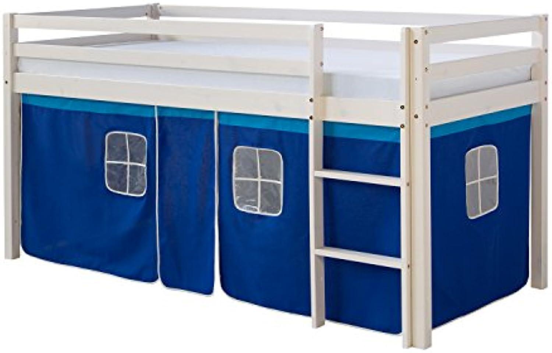 Homestyle4u 519, Kinder Hochbett Mit Leiter, Vorhang Blau, Massivholz Kiefer Wei, 90x200 cm