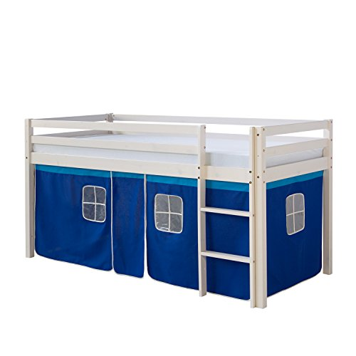 Homestyle4u 519, lit loft pour Enfants avec échelle, Rideau Bleu, Bois de pin Massif Blanc, 90x200 cm