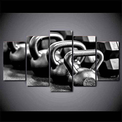 QWASD Bilder 5 Teilig Leinwandbilder Mit Rahmen Ketler Ball Gym Leinwanddrucke 5 Stück Wandkunst Leinwand Bilder XXL Wohnzimmer Wohnkultur 150X80Cm Geschenk