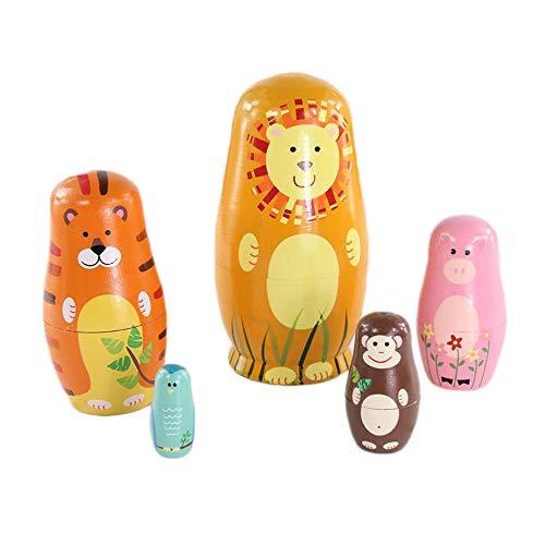 KEBY handgemachte Tier Matroschka Spielzeug aus Holz russische traditionelle Puppen Geschenk für Kinder