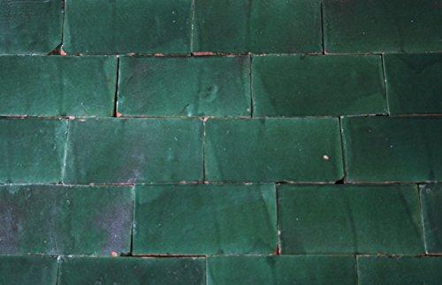 1m² große schmale Zellige Fliesen grün 20x10x2cm - maurische Wandkachel Handarbeit