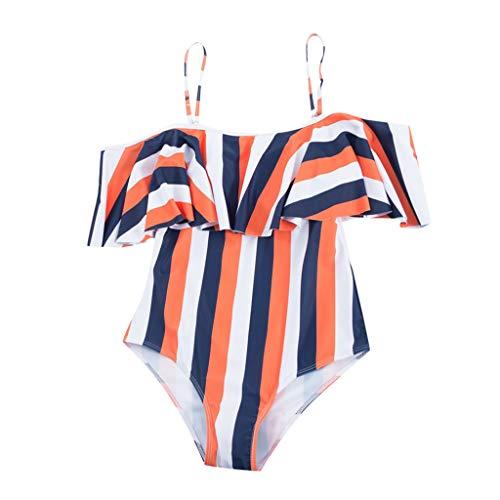 IZHH Ruffle Bikini Damen Badeanzug Damen Bikini Schwarz Badebekleidung Damen Sommer Hunkemöller Badeanzug Blume Lässiger Strandmode Schlankheits Streifendruck(Orange,S)