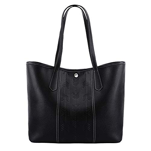 Lekesky Purses and Handbags for Women Tote Shoulder Bag Classic Structured with Embossed Arrow, Black
