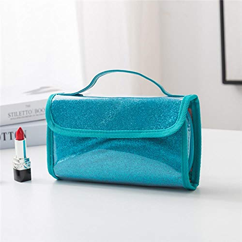 WYCYZJ Lady Cosmetic Bag PVC Dust-Proof Makeup Brush Case Waterproof Travel Cosmetics Brush Organizer,Blue