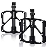 LANNIU Mountain Bike Pedals MTB Pedals Bicycle Flat Pedal, 3 Sealed Bearings Pedals with 12 Anti-Skid PINS, 9/16' Spindle for Mountain Bikes, Road Bikes, Folding Bikes