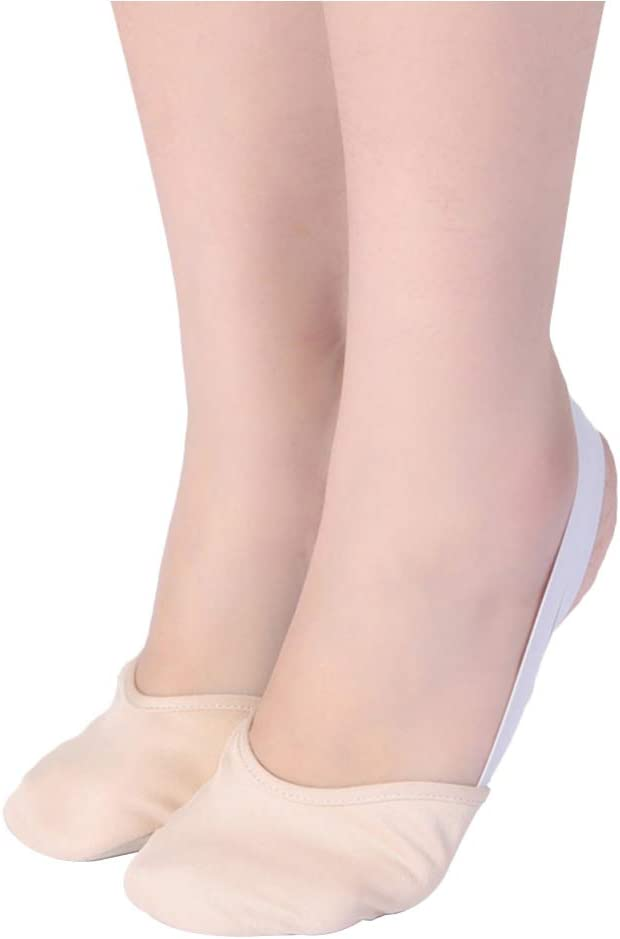 Milisten Ballet Practice Shoes Ballet Slipper Yoga Shoes Folklorico Shoes Pirouette Dance Half Sole Lyrical Turning Shoes for Ballet Jazz Size M (White)