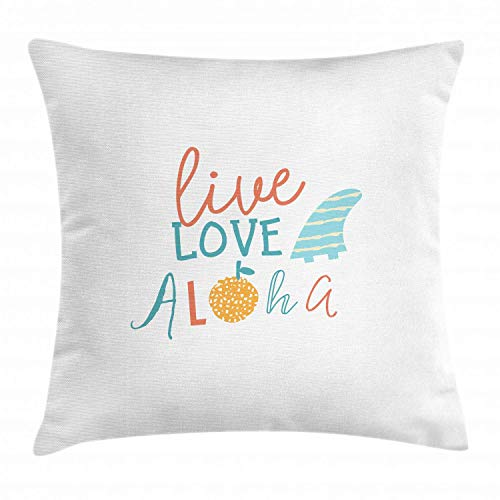 tyui7 Beach Quote Decorative Cushion Cover Live Love Aloha Inspirational Text Quote with Abstract Fruit Decor Square Accent Cushion Cover 45x45cm Pewter Red Light Blue Orange