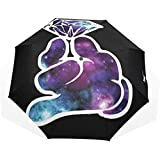 EW-OL Ombrello Galaxy Diamond Girls Travel Golf Sun Rain Ombrelli Antivento con Protezione...