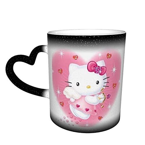 Hello Kitty Farbwechsel-Tasse im Himmel, Keramik, wärmeempfindlich, Farbwechsel-Tasse, Reisebecher, Kaffeetasse, Teetasse, schwarz