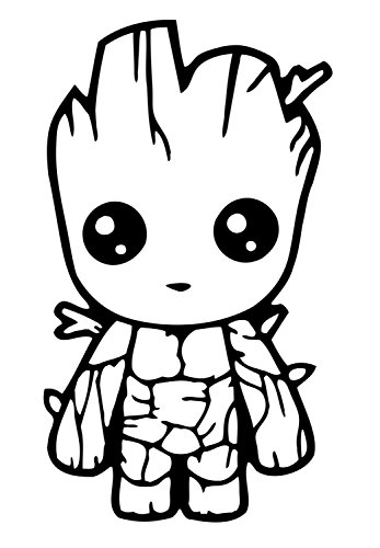 Stick'emAll Baby Groot Guardians of The Galaxy Vinyl Decal (Black, 5.5')