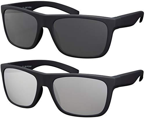 La Optica B.L.M. Herren Sonnenbrille UV400 Männer Sportbrille Fahrradbrille - Doppelpack Set Rubber Schwarz (Gläser: Grau, Silber Verspiegelt)