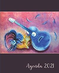Agenda 2021: Agenda de Janvier à Décembre 2021 | Semainier grand format 25,4 × 20,3 cm (10 x 8 pouces) | Couverture : La guitare bleue - 🎸 | 🎁 pour ... de contacts, notes, ... (French Edition)