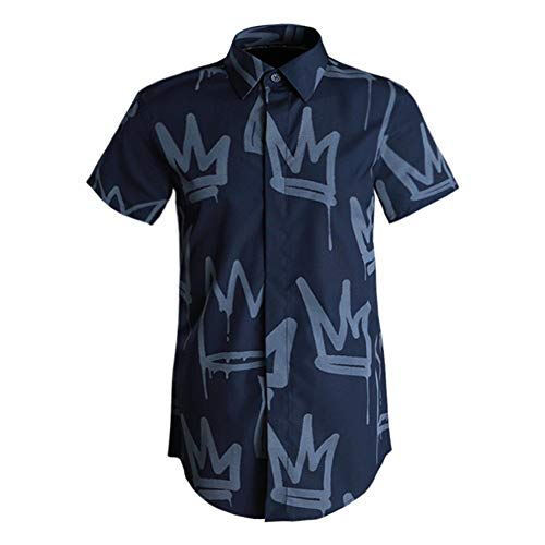 Photo of LIUXING-TUMI Mens Summer Short Sleeve Shirt Collar Button Down Dress Shirt Regular Fit Cotton Print Shirt Top Formal Work Business Casual Shirt Blouse Size M L XL XXL 3XL
