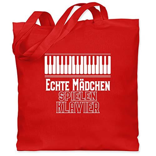 Shirtracer Sprüche Kind - Echte Mädchen spielen Klavier - Unisize - Rot - echte klavier - WM101 - Stoffbeutel aus Baumwolle Jutebeutel lange Henkel