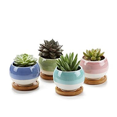 T4U 3'' Succulent Planters Pots Ceramic, Ball Shape Drainage Cactus Pots Window Boxes with Bamboo Tray, Set of 4