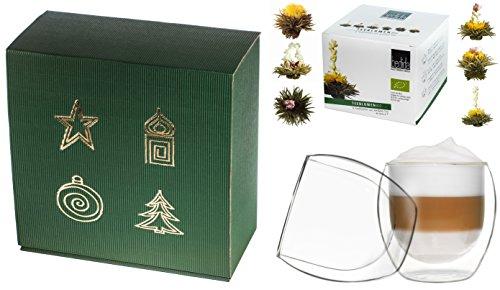 ERBLÜHTEE TEEBLUMEN-GESCHENKSET / 2x 310ml DUOS Jumbo Doppelwandgläser + 6er-Box Weißtee-Teeblumen weißer Erblühtee in grüner Weihnachts-Geschenkbox - by Feelino