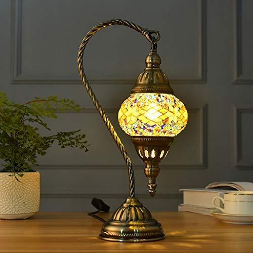 GJH-LÁMPARAS de ESCRITORIO Luz Decorativa romántica de la Noche del Estilo Turco, lámpara de Mesa de Cristal de Mosaico del Estudio del café