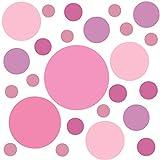 PREMYO Set 25 Adesivi Murali Bambini Cerchi - Wall Stickers Muro Cameretta - Decorazione Parete Camera da Letto Rosa Pastello