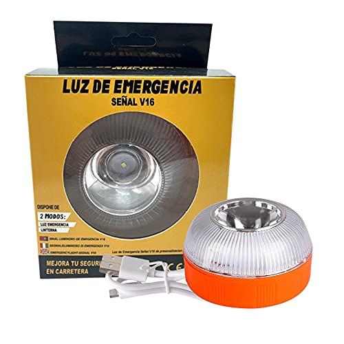 Luz de Emergencia, Señal V16 de Preseñalización de Peligro Homologada Luz de Avería Emergencia Magnética Led Luz Emergencia para Coches y Motocicletas (Style 1 con batería, Orange)