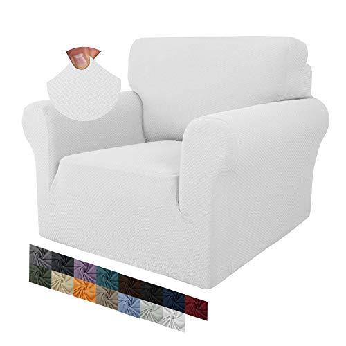 MAXIJIN Fodere per sedie creative jacquard per soggiorno, 1 pezzo fodera per sedia antiscivolo super elasticizzata con braccioli per cani Fodera per poltrona per divano (1 Posti, Bianca)