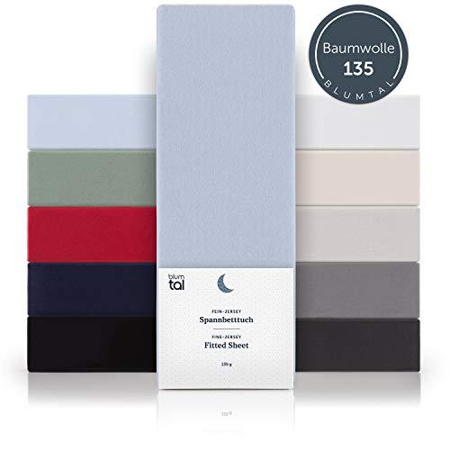 Blumtal Basics Spannbettlaken 90x 200 cm - 100% Baumwolle Bettlaken, bis 20cm Matratzenhöhe, Hellblau